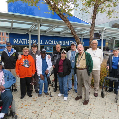 A group from the DC Armed Forces Retirement Home enjoy a day at the National Aquarium